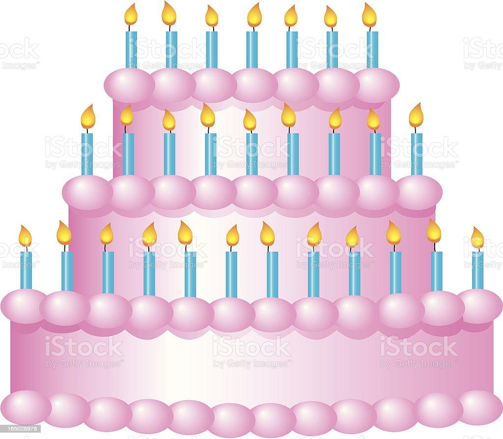 Three tiered birthday cake illustration royalty-free stock vector art