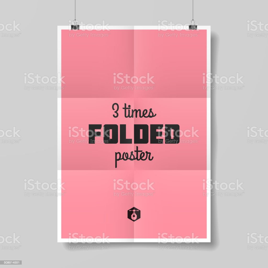 Three times folded poster template vector art illustration