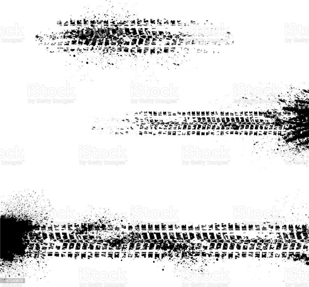 Three tire tracks vector art illustration