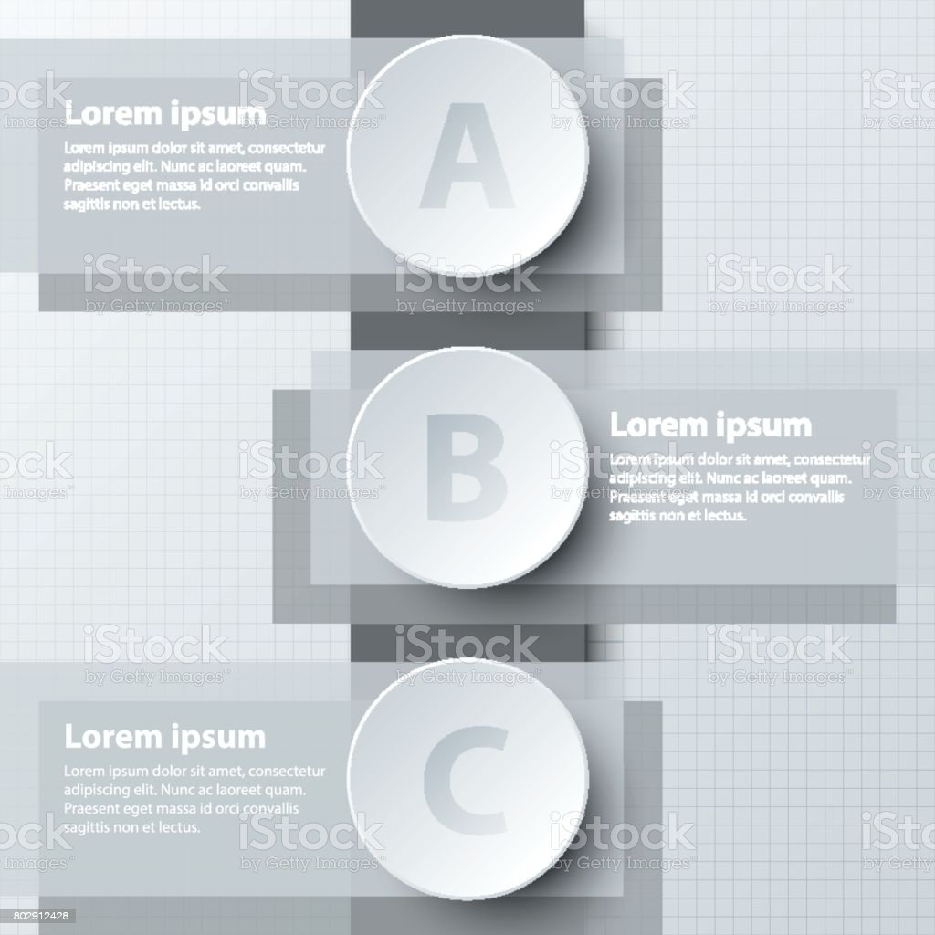 Three topics simple white 3d paper circle on double layer for website presentation cover poster vector design infographic illustration concept vector art illustration