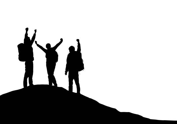 Three tourists with backpacks on top of a mountain rejoice in success - vector vector art illustration