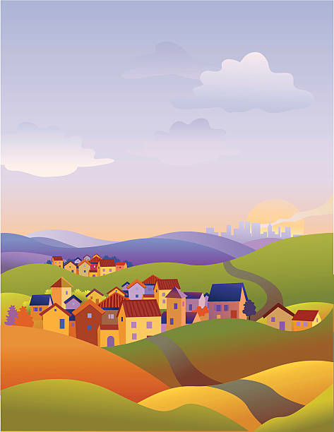three towns - köy stock illustrations