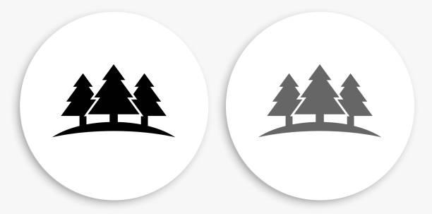 Three Trees Black and White Round Icon vector art illustration