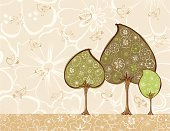 Vector image of a three decorative trees with a flowers and birds.