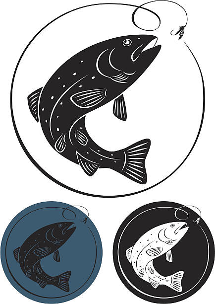 three trout fish icons in different colors - redfish stock illustrations, clip art, cartoons, & icons