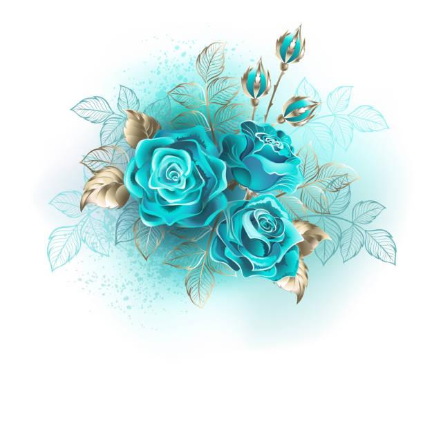 drei türkisfarbene rosen - hochzeitsanstecker stock-grafiken, -clipart, -cartoons und -symbole