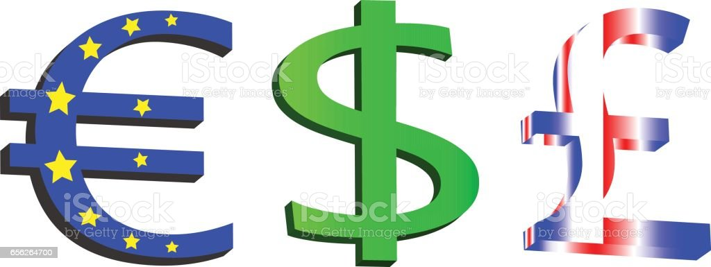 Three Types Of Currency Euro Dollar Pound Isolated On A White