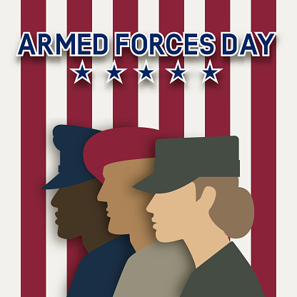Three uniformed soldiers on striped background. Armed forces day card
