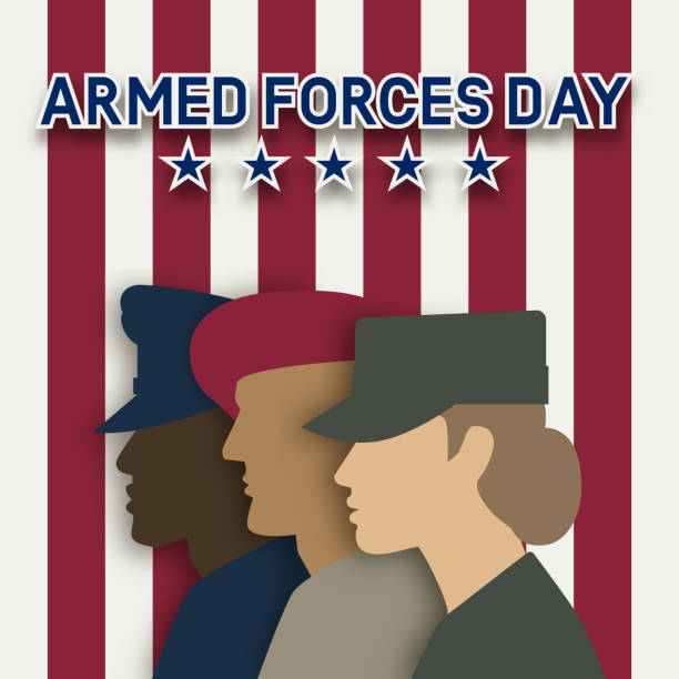 Three uniformed soldiers on striped background. Armed forces day card Three uniformed soldiers on striped background. Armed forces day card. Vector illustration military uniform stock illustrations