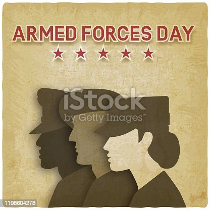 Three uniformed soldiers on vintage background. Armed forces day card. Vector illustration