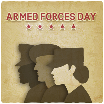 Three uniformed soldiers on vintage background. Armed forces day card