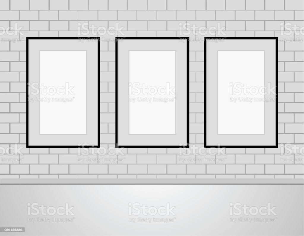 Three Vector Empty Blank White Mock Up Posters Pictures Black Frames ...