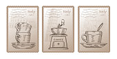 Three different vector postcards with coffee theme