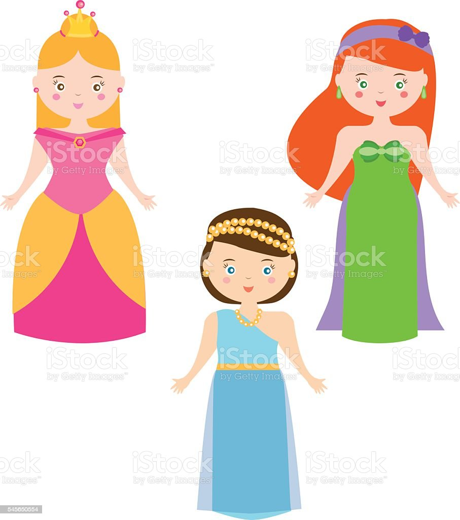 Three Vector Princesses in Cartoon Style. Queen characters  set vector art illustration