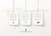 Three vector progress steps illustration with hanging cards,  icons and place for your company text.