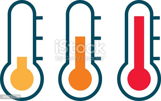 Three Vector Thermometer Showing The Temperature From Warm ...