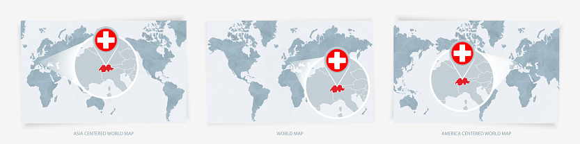 Three versions of the World Map with the enlarged map of Switzerland with flag.