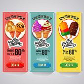 three vertical banner website ice cream promo