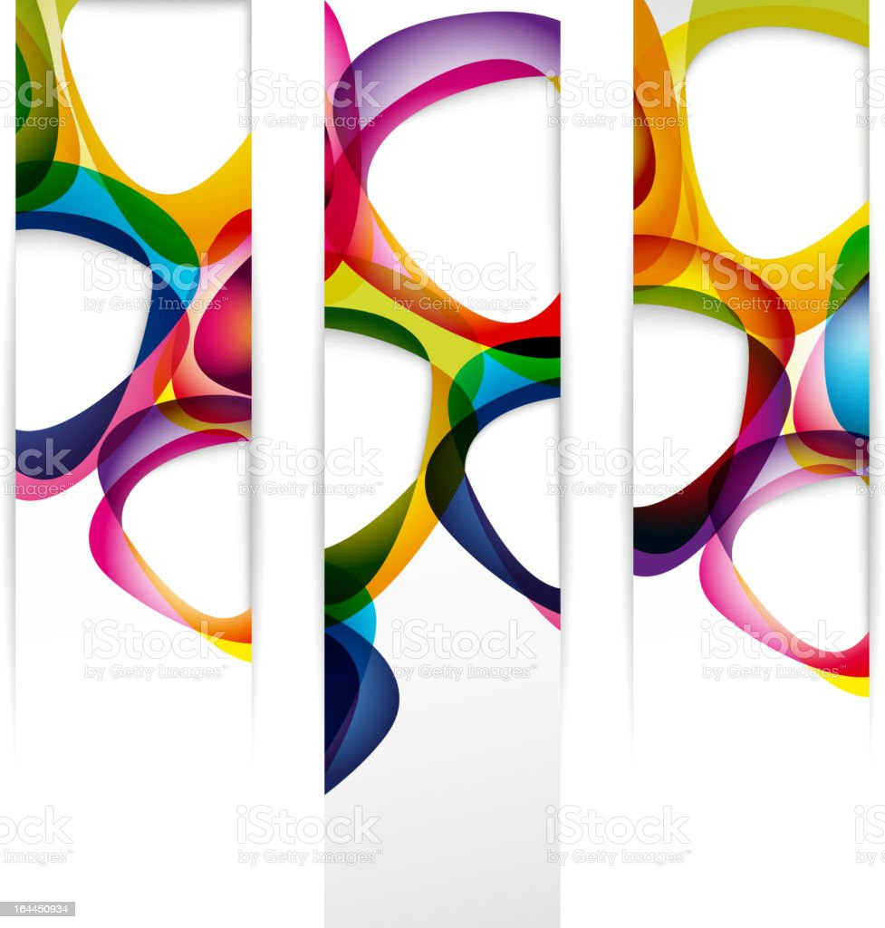 Three vertical banners with colorful abstract pattern vector art illustration