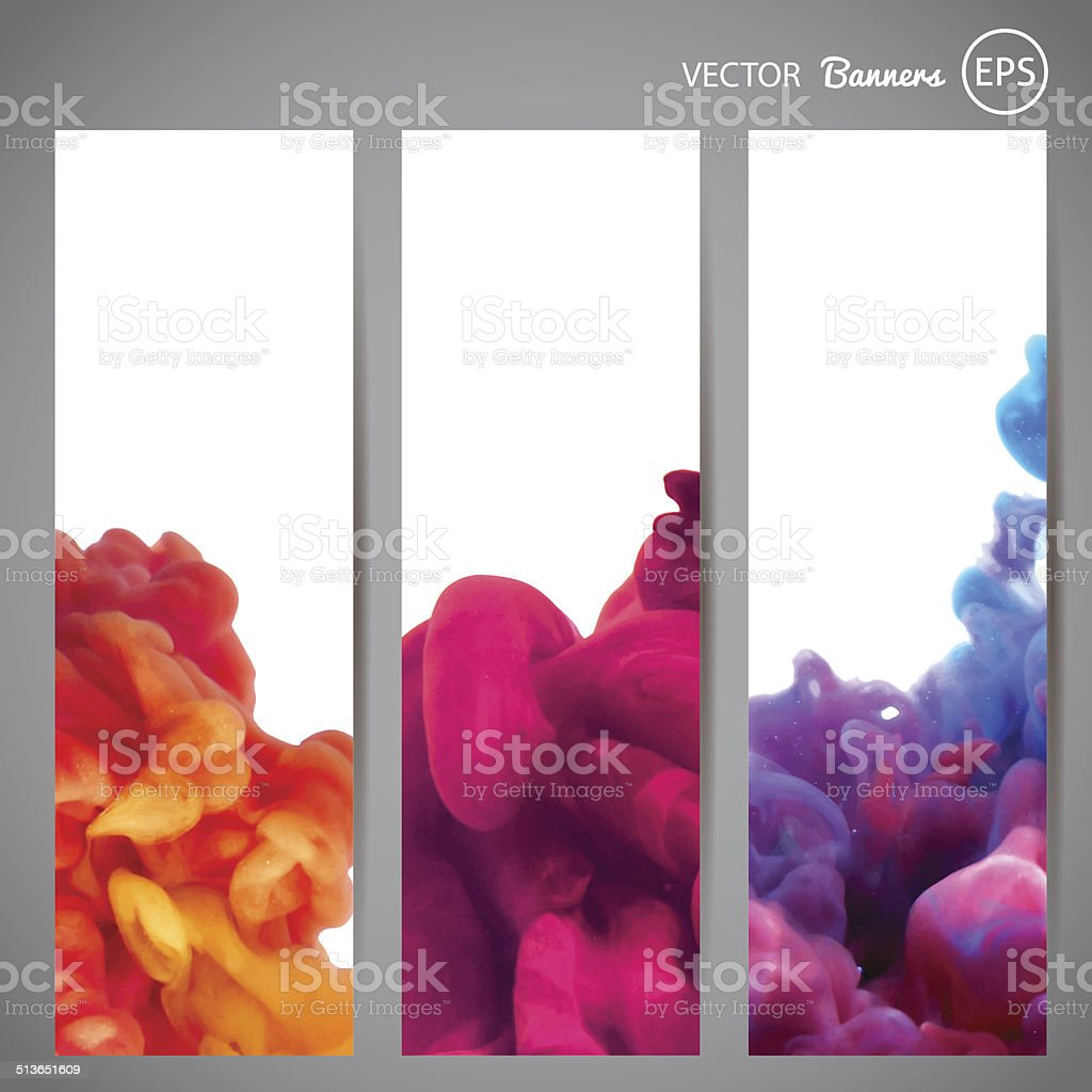 Three vertical banners with swirling ink