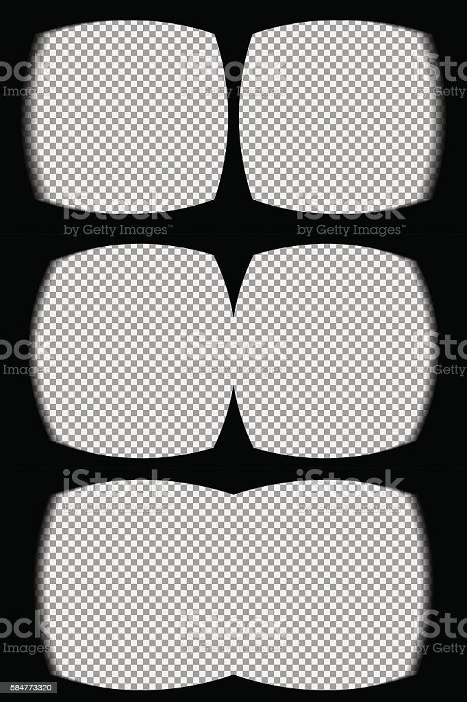 Three vr helmet overlays vector art illustration