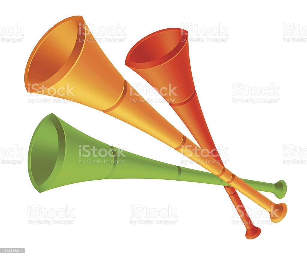 Three vuvuzelas royalty-free stock vector art