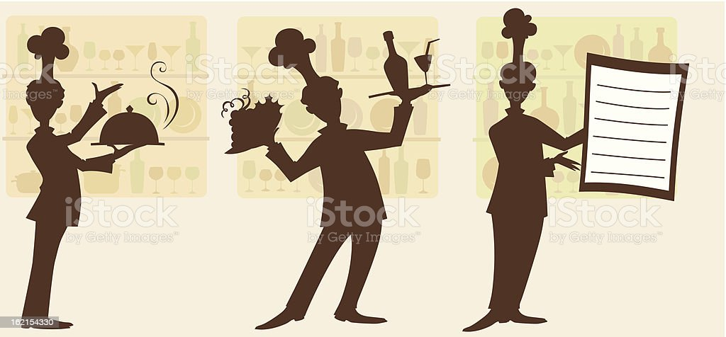 Three waiters royalty-free stock vector art