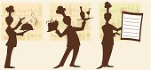 Stylized silhouettes of waiters/cooks. May be useful for menu design.