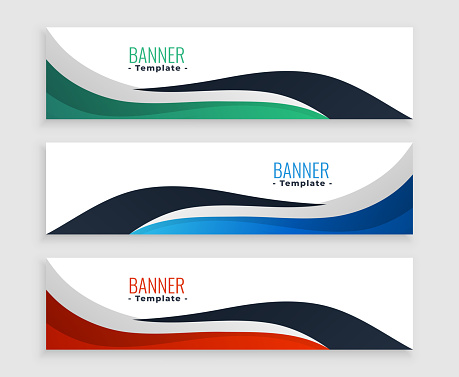 three wavy business banners set in modern style