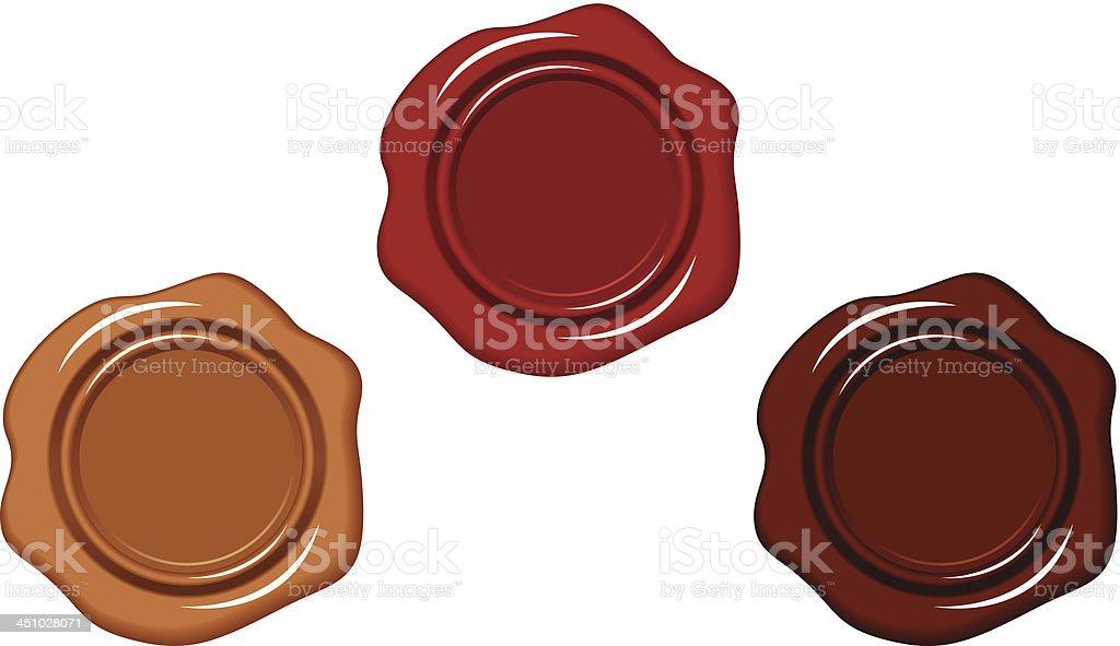 Three wax seals. Vector illustration. vector art illustration