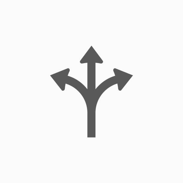 icône de flèche de direction tridirectionnel - Illustration vectorielle