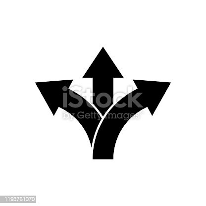 Three way direction arrow icon. Vector