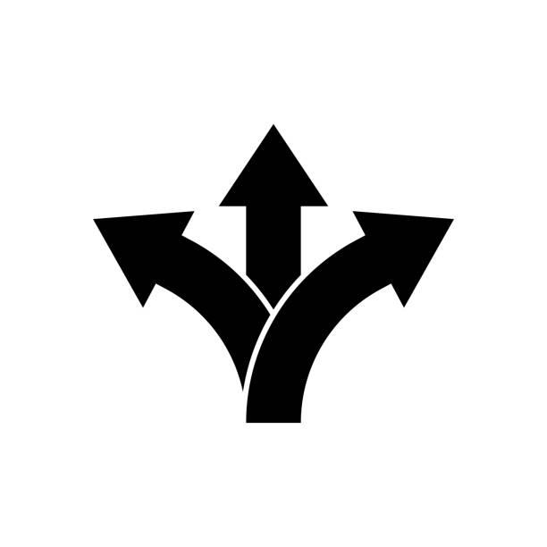 Three way direction arrow icon. Vector Three way direction arrow icon. Vector choice stock illustrations