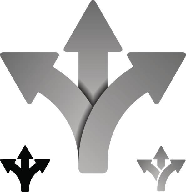 three way direction arrow symbol vector vector art illustration