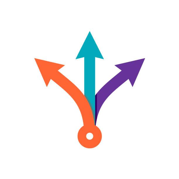 Trois flèches de couleur façon direction - Illustration vectorielle