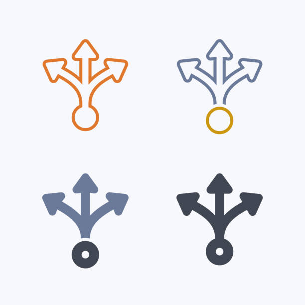 Three Way Split - Pastel Icons A professional, pixel-aligned icon designed on a 32x32 pixel grid. choice stock illustrations