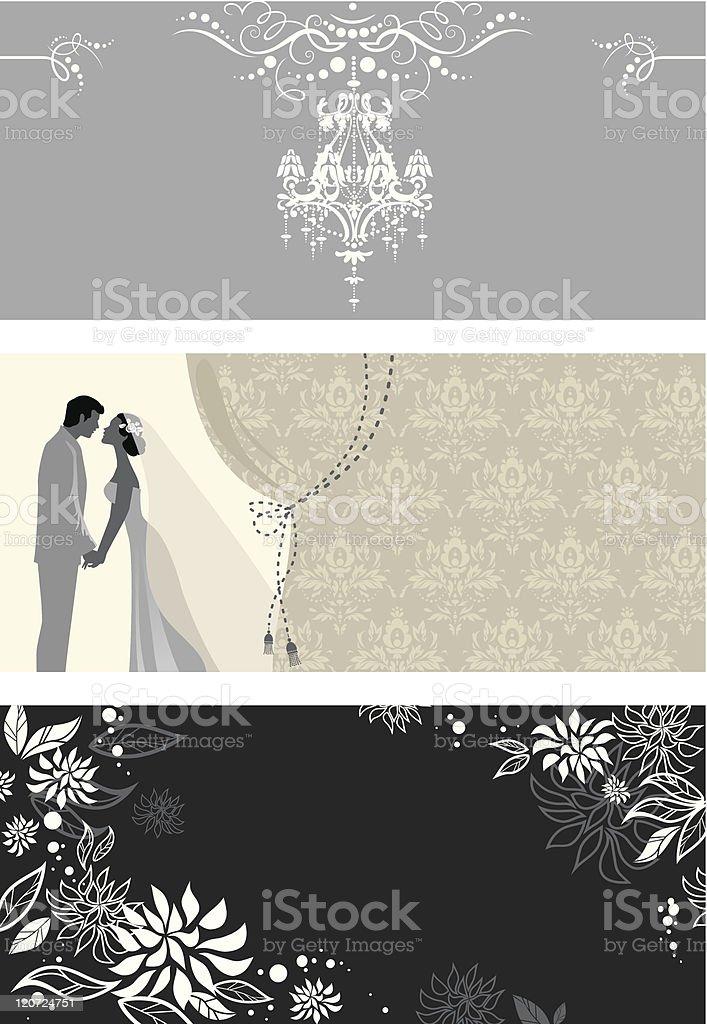 Three wedding cards vector art illustration