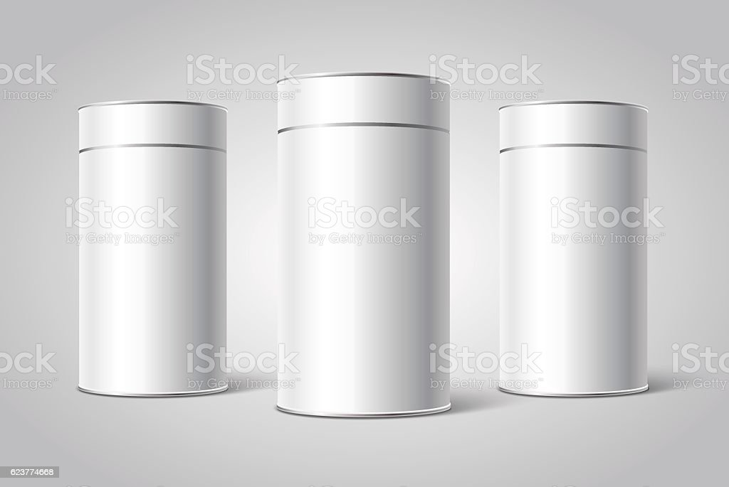 Three White Blank Tin can packaging mockup. – Vektorgrafik