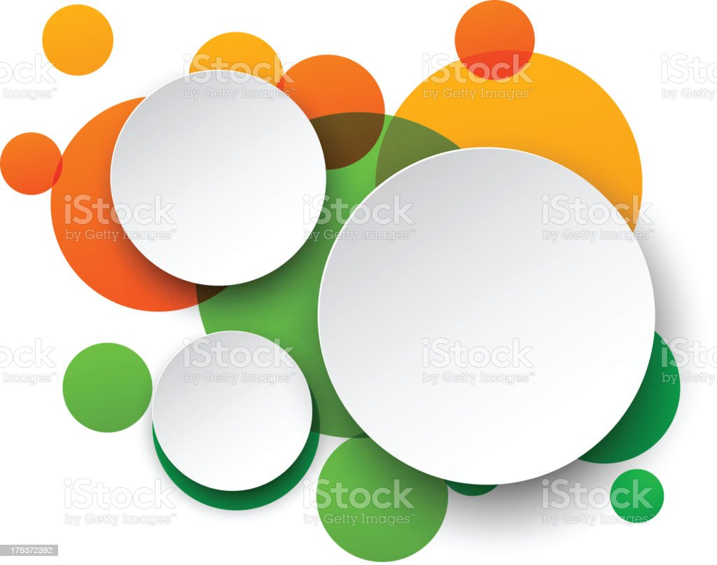 Three white circles on top of green and orange circles vector art illustration