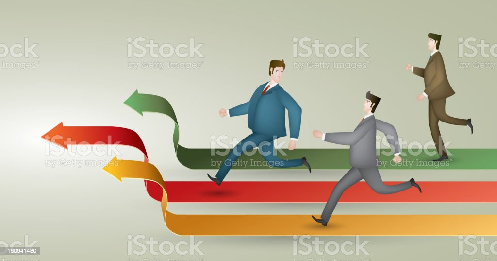 Three white collars in the race vector art illustration
