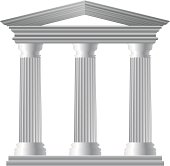 Three white Greek pillars on a white background