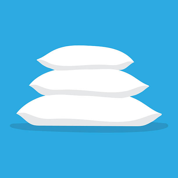 Three white pillows vector art illustration