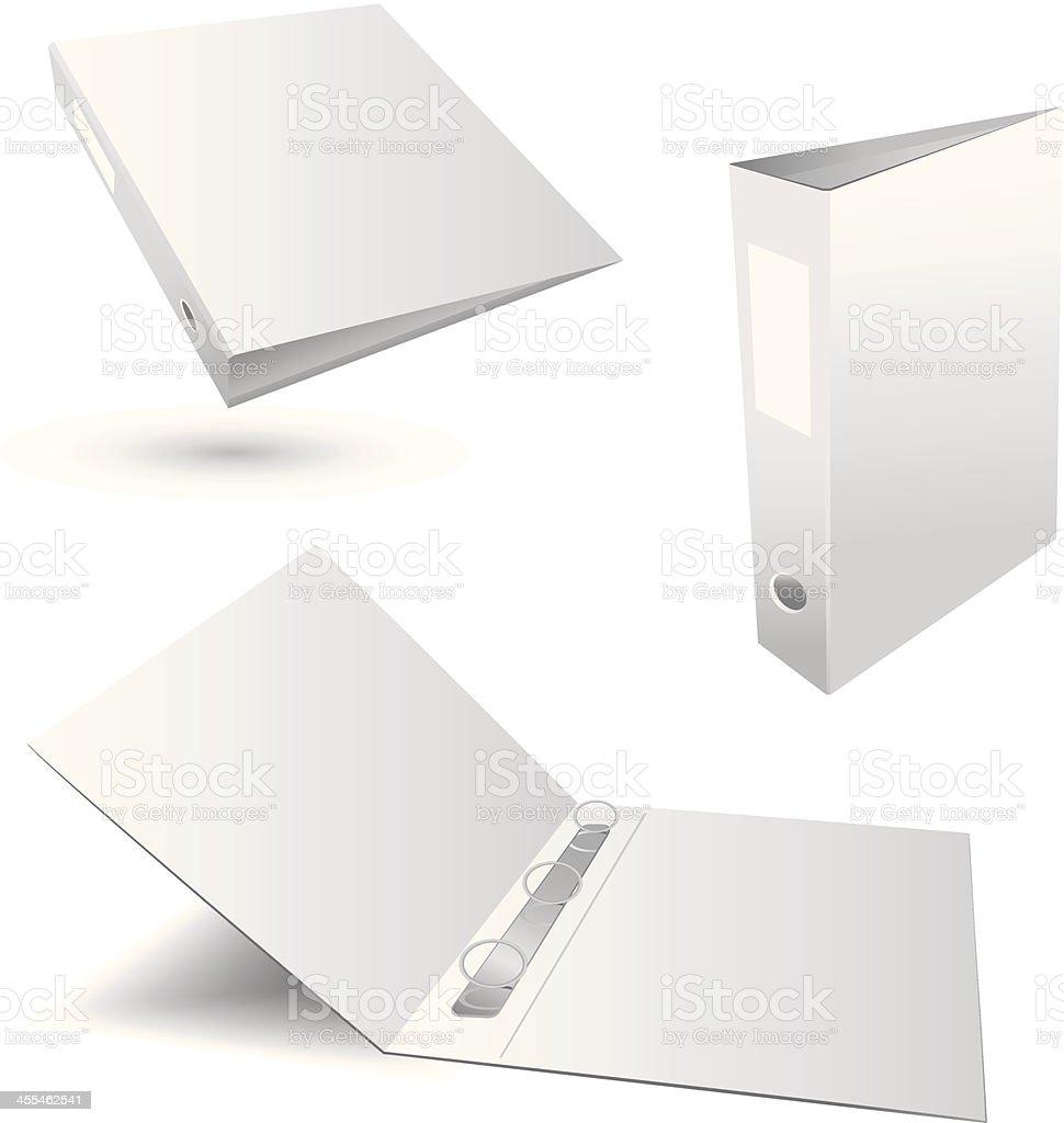 Three white plain binders in various positions vector art illustration