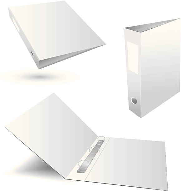 three white plain binders in various positions - ring binder stock illustrations
