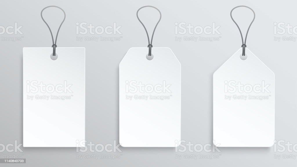 Trois étiquettes De Prix Blancs Modèle Détiquette