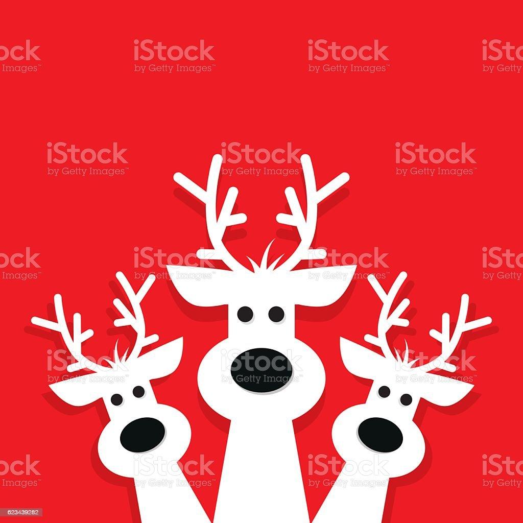 three white reindeer on a red background. - Lizenzfrei Einladungskarte Vektorgrafik