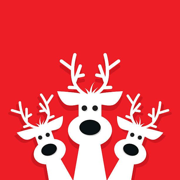 three white reindeer on a red background. - rentier stock-grafiken, -clipart, -cartoons und -symbole