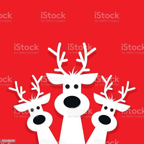Three White Reindeer On A Red Background Stock Vektor Art und mehr Bilder von Einladungskarte