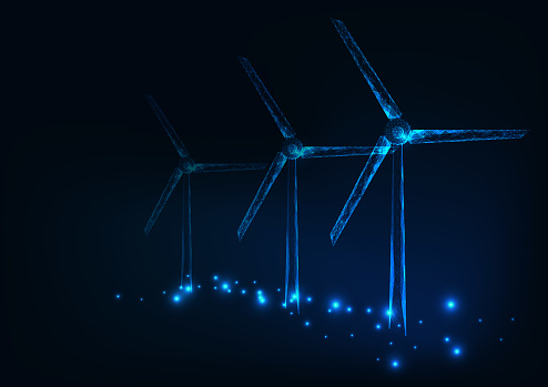 Three wind mills made of glowing triangles, lines, dots. Wind turbines field. Renewable sources of electric energy.