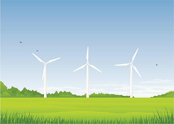 Three wind turbines vector art illustration